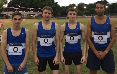 Holland Sports men's club record breaking 4x400m team at Battersea Park on 28 June 2017